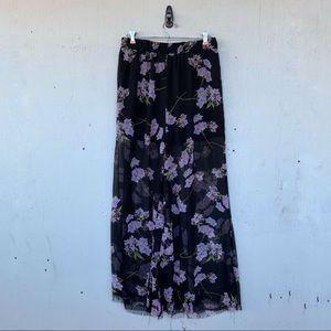 ASOS Floral Raw Hem Sheer Trouser Pants